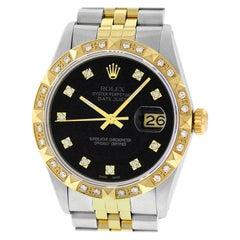 Rolex Men's Datejust 16013 SS and 18 Karat Gold Black Diamond Dial and Bezel