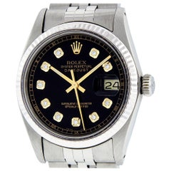 Rolex Men's Datejust 16014 Watch SS and White Gold Black Diamond Dial Fluted