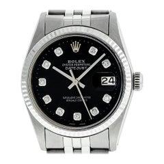 Rolex Men's Datejust 16014 Watch SS & White Gold Black Diamond Dial Fluted Bezel