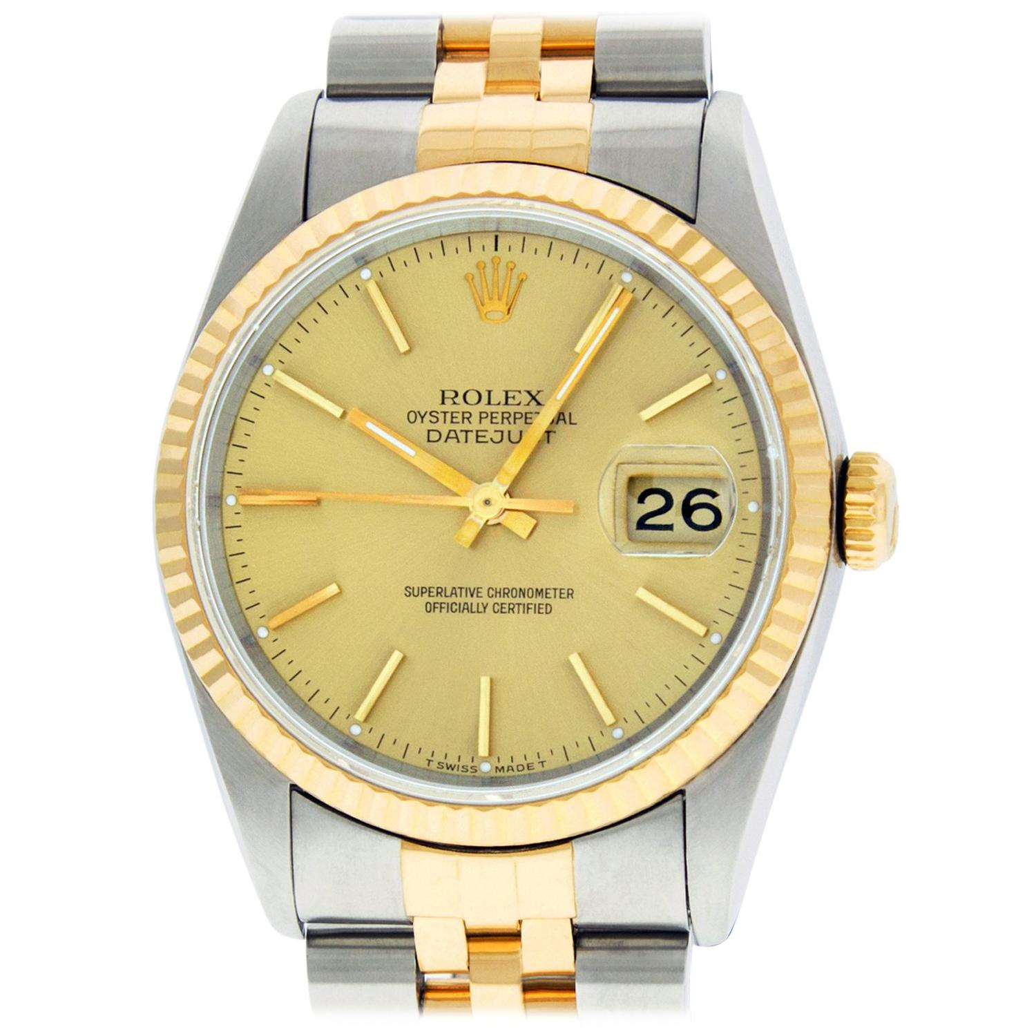 Rolex Men's Datejust 16233 Ss and 18 Karat Yellow Gold Champagne Index Dial