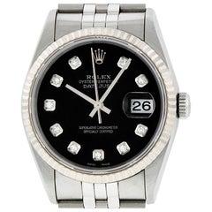 Rolex Men's Datejust 16234 Watch Steel / 18 Karat White Gold Black Diamond Dial