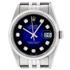 Rolex Men's Datejust 16234 Watch Steel / 18 Karat White Gold Blue Diamond Dial