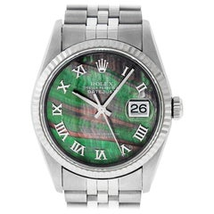 Rolex Men's Datejust 16234 Watch Steel / 18 Karat White Gold Tahitian Roman Dial