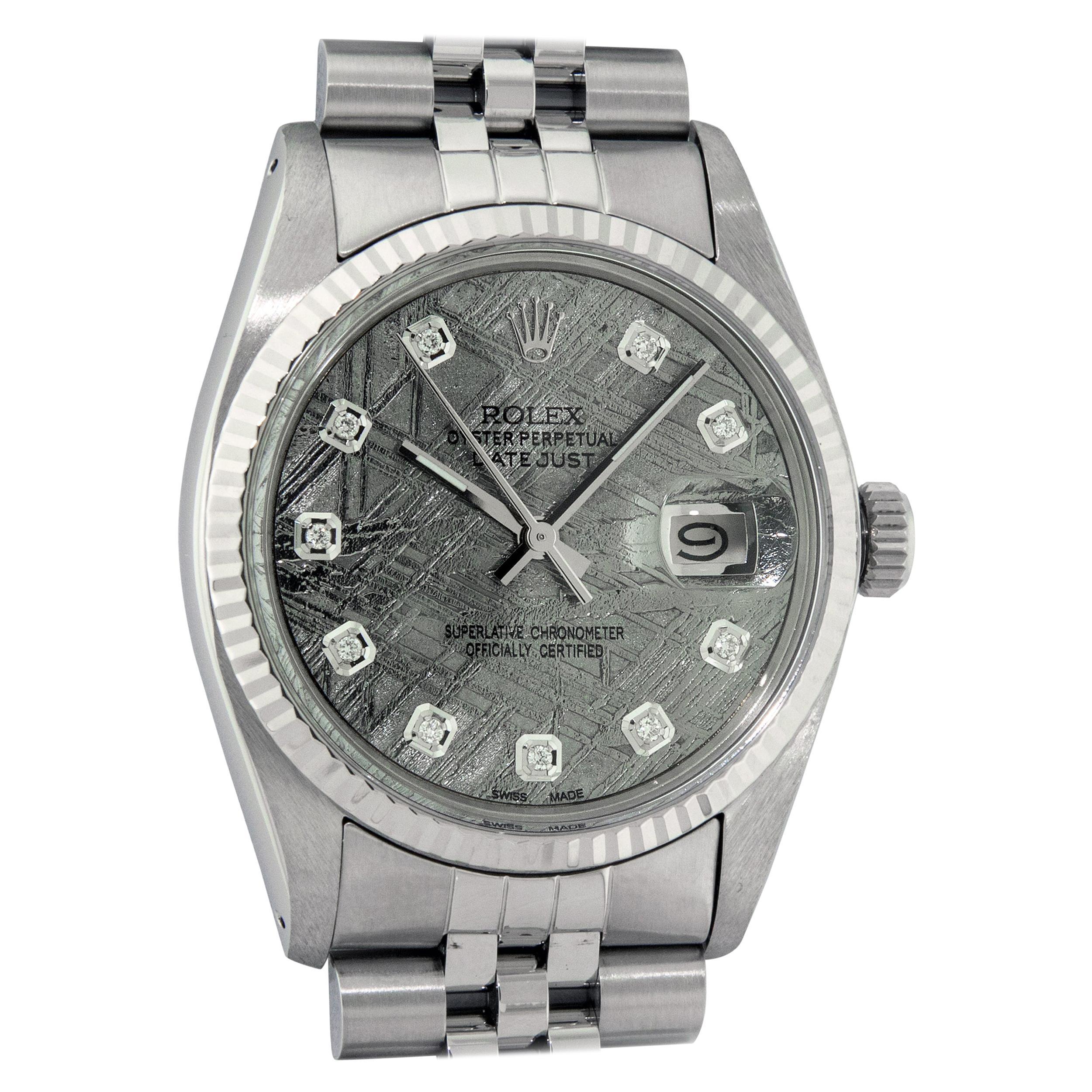 Rolex Men's Datejust Meteorite Diamond Dial Wristwatch with Rolex Box, Appraisal
