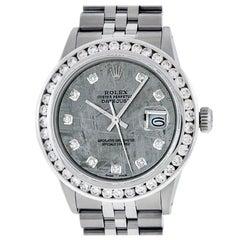 Rolex Men's Datejust S/S and 18 Karat White Gold Meteorite Diamond Dial 3.10 Ct