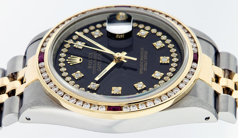 Rolex Men's Datejust S/S and 18 Karat Yellow Gold Black Diamond Dial Ruby For Sale 5