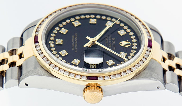 Rolex Men's Datejust S/S and 18 Karat Yellow Gold Black Diamond Dial Ruby For Sale 6