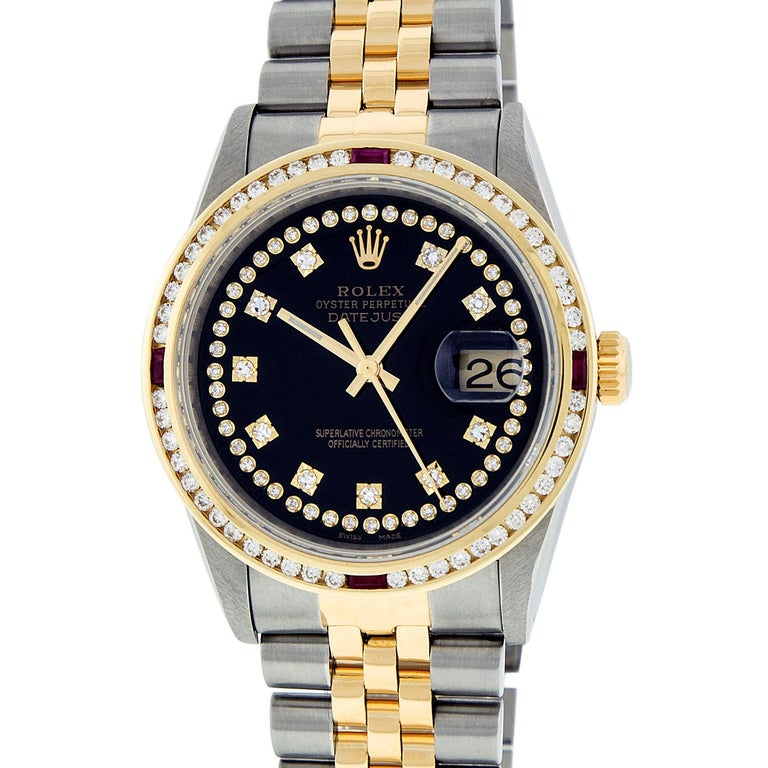 WATCH DESCRIPTION   BRAND : Rolex MODEL : Datejust - 16013 CASE SIZE : 36mm GENDER : Men's  WATCH FEATURES   DIAL : Rolex Professionally Refinished Black Dial set with aftermarket String Diamonds and Genuine Round (VVS H Color) Diamond Hour