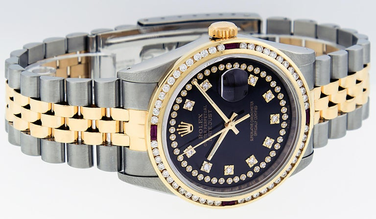 Round Cut Rolex Men's Datejust S/S and 18 Karat Yellow Gold Black Diamond Dial Ruby For Sale