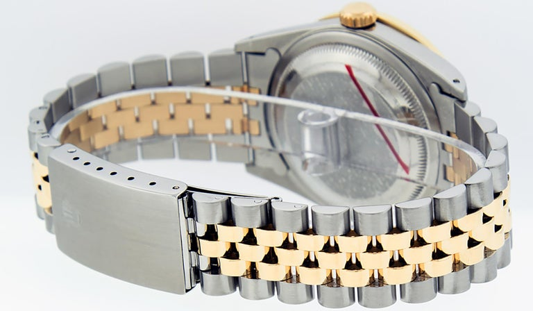 Rolex Men's Datejust S/S and 18 Karat Yellow Gold Black Diamond Dial Ruby In Good Condition For Sale In Los Angeles, CA
