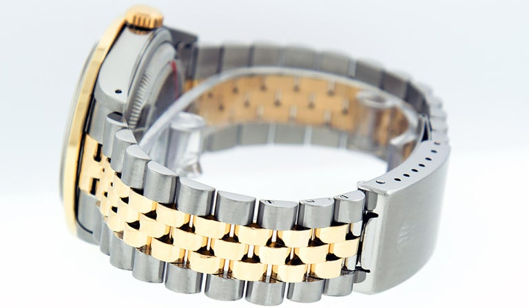 Rolex Men's Datejust S/S and 18 Karat Yellow Gold Black Diamond Dial Ruby For Sale 3