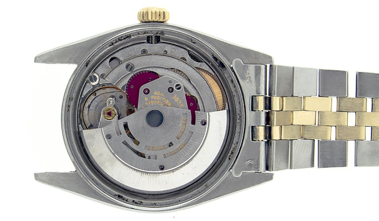 Rolex Men's Datejust S/S and 18 Karat Yellow Gold Black Diamond Dial Ruby For Sale 4