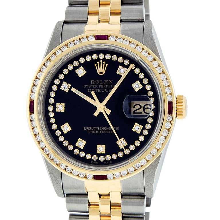 Rolex Men's Datejust S/S and 18 Karat Yellow Gold Black Diamond Dial Ruby For Sale