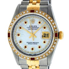 Rolex Men's Datejust S/S and 18 Karat Gold MOP String Diamond or Ruby Dial