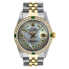 Rolex Men's Datejust SS / 18 Karat Gold Mother of Pearl Diamond Dial Emerald