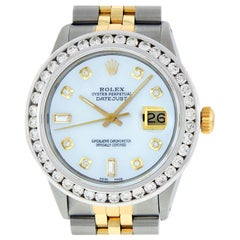 Rolex Men's Datejust SS/Yellow Gold and 18K White Mother of Pearl Diamond Watch