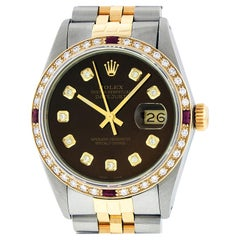 Rolex Men's Datejust SS / 18K Yellow Gold Dark Brown Diamond Watch Ruby Bezel