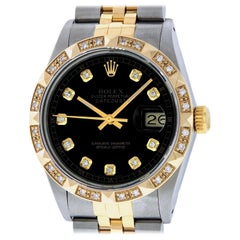 Rolex Men's Datejust SS / 18K Yellow Gold Black Diamond Watch Diamond Bezel