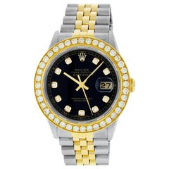 Rolex Men's Datejust SS / 18K Yellow Gold Black Diamond Watch 2.70 CT