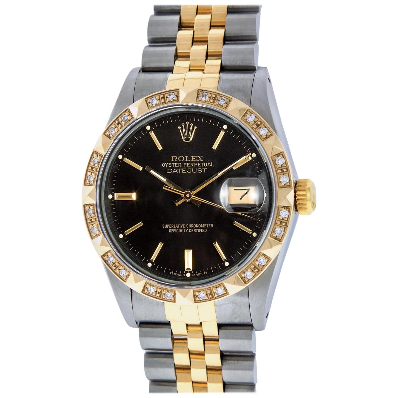 Rolex Men's Datejust SS and 18K Yellow Gold Black Index Watch Diamond Bezel