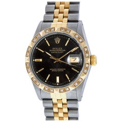 Rolex Men's Datejust SS and 18K Yellow Gold Black Index Watch Diamond Bezel