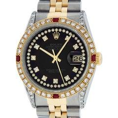 Rolex Men's Datejust SS / 18 Karat Yellow Gold Black String Diamond Dial Ruby