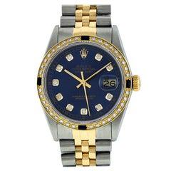 Rolex Men's Datejust SS & 18 Karat Yellow Gold Blue Diamond and Sapphire Watch