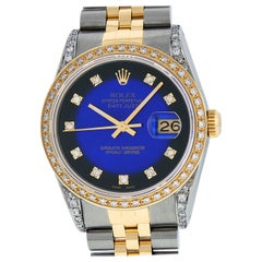 Rolex Men's Datejust SS and 18K Yellow Gold Blue Vignette Diamond Watch
