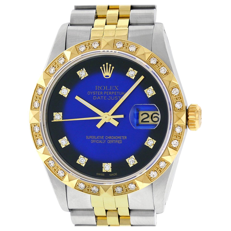 Pre-Owned Rolex Men's Datejust SS / 18K Yellow Gold Blue Vignette Diamond Watch
