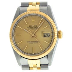 Rolex Men's Datejust Watch Stainless Steel and Yellow Gold Champagne Index Dial