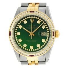 Rolex Men's Datejust SS / 18K Yellow Gold Green Diamond Watch Ruby Bezel