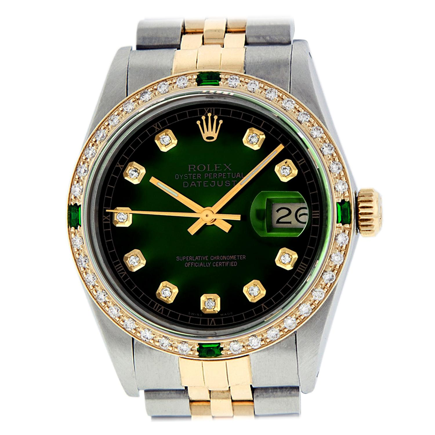 Rolex Men's Datejust SS / 18K Yellow Gold Green Vignette Diamond Watch Emerald