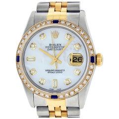 Rolex Men's Datejust SS & 18 Karat Yellow Gold MOP Diamond and Sapphire Watch