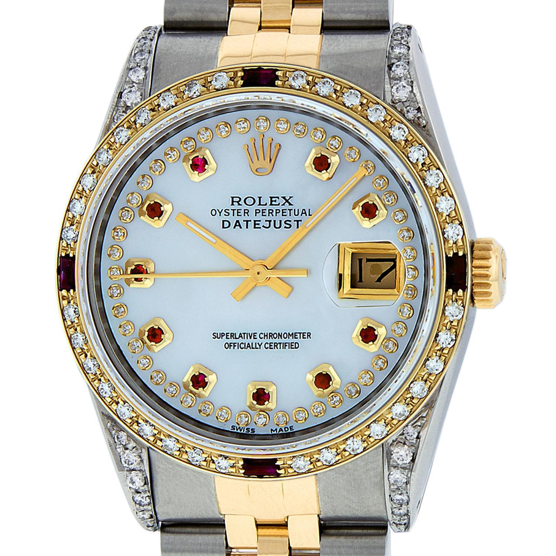 Rolex Men's Datejust SS or 18 Karat Yellow Gold MOP String Diamond Dial Ruby