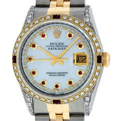 Rolex Men's Datejust SS or 18 Karat Yellow Gold MOP String Diamond Dial Ruby