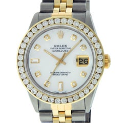 Rolex Men's Datejust SS or 18 Karat Yellow Gold Mother of Pearl Diamond Dial