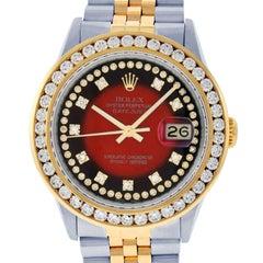 Rolex Men's Datejust SS / 18 Karat Yellow Gold Red Vignette String Diamond Dial