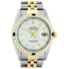 Rolex Men's Datejust SS & 18 Karat Yellow Gold Silver Diamond and Sapphire Watch