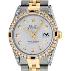Rolex Men's Datejust SS or 18 Karat Yellow Gold Silver Diamond Dial Sapphire