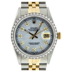 Rolex Men's Datejust SS / Yellow Gold White MOP Diamond Watch