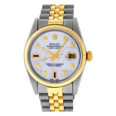 Rolex Men's Datejust SS / Yellow Gold White Mother of Pearl Diamond Ruby Dial