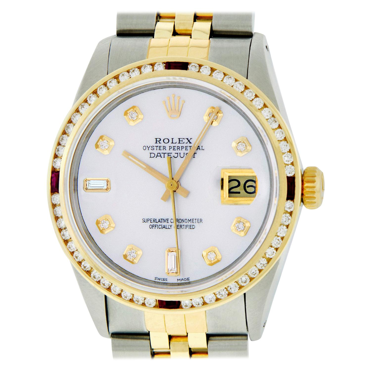 Rolex Men's Datejust SS & 18K Yellow Gold MOP Diamond Watch Ruby Bezel