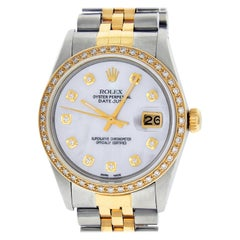Rolex Men's Datejust SS / 18K Yellow Gold White Mother of Pearl Diamond Watch
