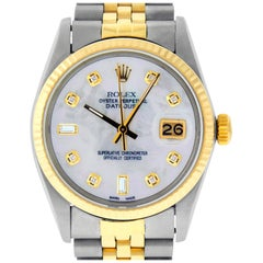 Rolex Men's Datejust SS / Yellow Gold White Mother of Pearl Diamond Watch