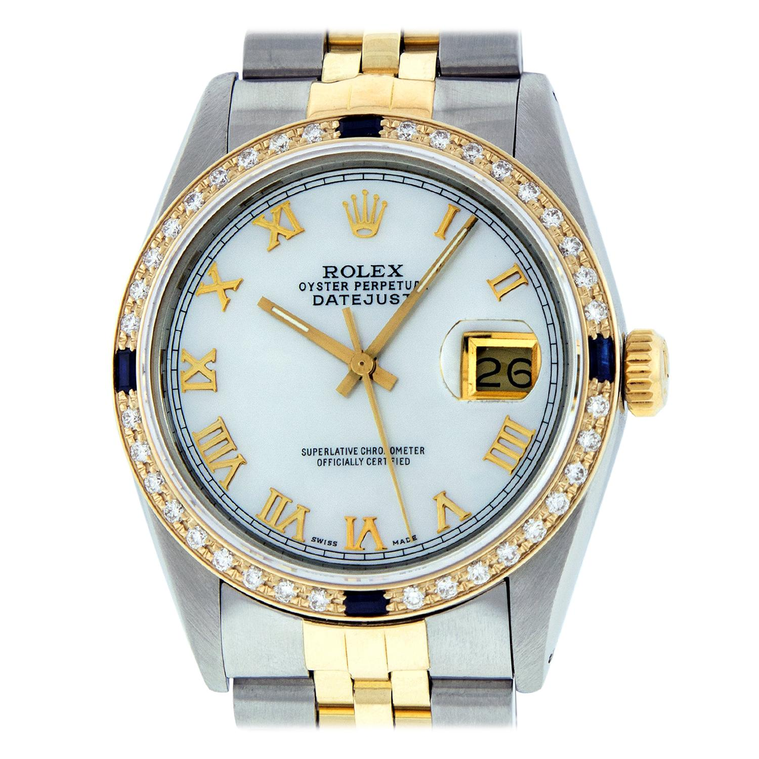 Rolex Men's Datejust Watch SS / 18K Yellow Gold MOP Roman Dial Diamond Bezel