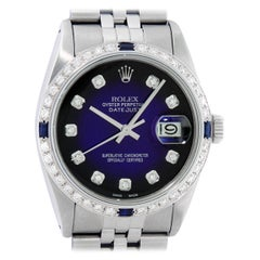 Rolex Men's Datejust SS & 18K White Gold Blue Vignette Diamond & Sapphire Watch