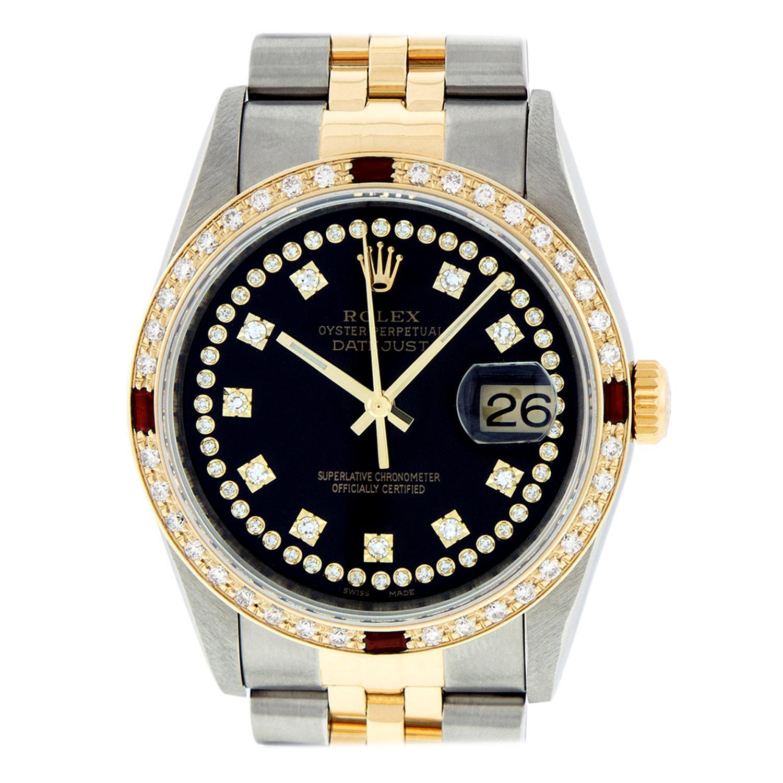 Rolex Men's Datejust SS and 18 Karat Gold Black String Diamond Dial Ruby Bezel