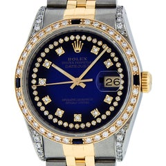 Rolex Men's Datejust SS & 18K Yellow Gold Blue Vignette Diamond Dial Sapphire