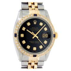 Rolex Men's Datejust SS and 18 Karat Gold Black Diamond and Sapphire Wristwatch
