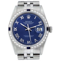Rolex Men's Datejust SS and 18 Karat Gold Blue Roman Diamond and Sapphire Watch